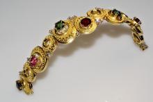 Armband, Granulation, Farbsteine und Brillanten